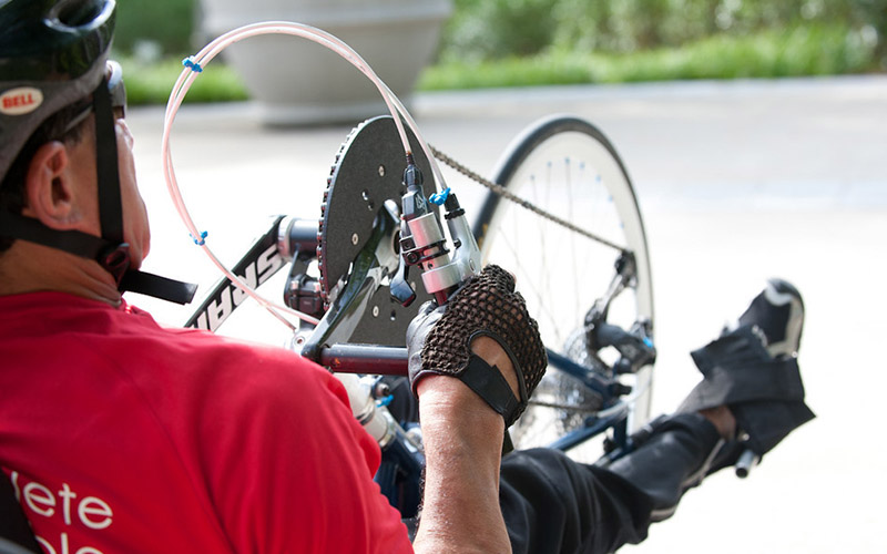 Man handcycling